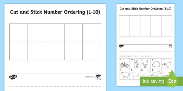 Farm Themed Cut and Stick Number Ordering Sheets 1-10 - farm