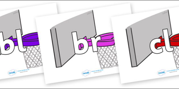 Initial Letter Blends on Basketball Hoops - Initial Letters, initial letter, letter blend, letter blends, consonant, consonants, digraph, trigraph, literacy, alphabet, letters, foundation stage literacy