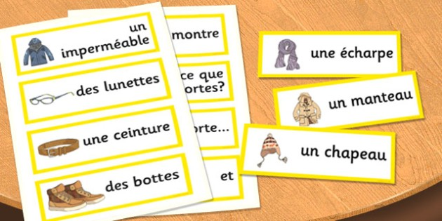 French Clothes 2 Word Cards - french, clothes, word cards, cards