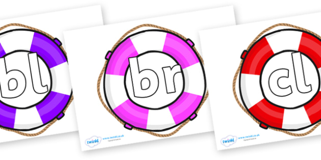 Initial Letter Blends on Life Belts - Initial Letters, initial letter, letter blend, letter blends, consonant, consonants, digraph, trigraph, literacy, alphabet, letters, foundation stage literacy