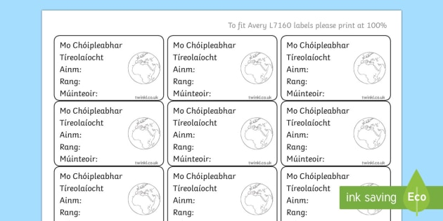 Irish Gaeilge Pupil Geography Copybook Labels