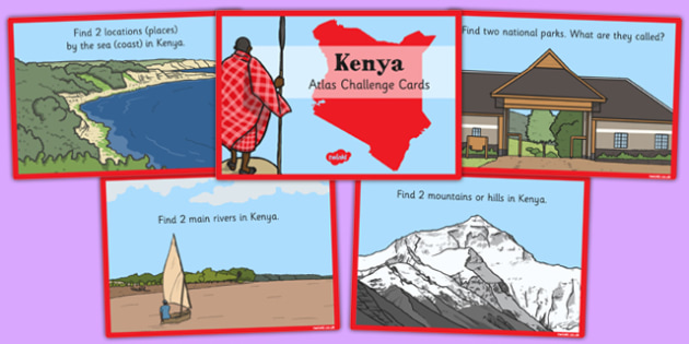 Kenya Atlas Challenge Cards - kenya, atlas, challenge, cards, map, skills, display, interactive, Africa, gegraphy, location, continent, country