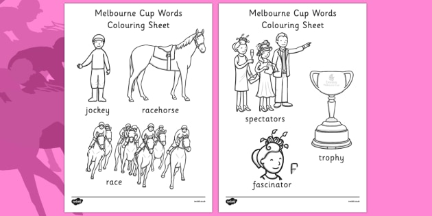 The Melbourne Cup Words Colouring Sheet - australia, melbourne cup, words, colouring, sheet