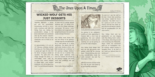 Newspaper Report Of Little Red Riding Hood For Key Stage 2