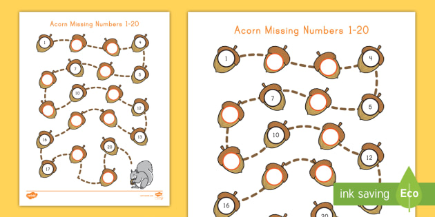 picture about Numbers 1-20 Printable identified as Acorn Dropped Quantities 1-20 Worksheet / Worksheet