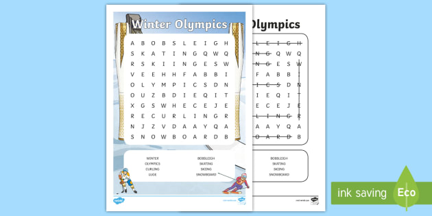 Winter, Olympic, Wordsearch