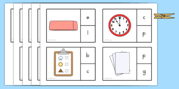Back to School Initial Sound Peg Matching Game