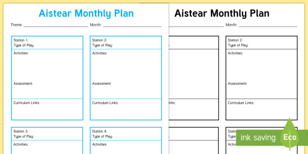 Aistear Monthly Planning Template