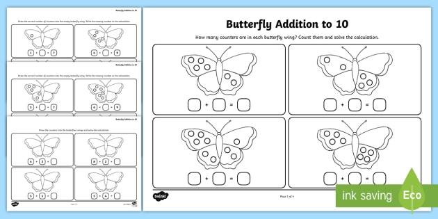 new butterfly addition to 10 worksheets ks1 infants. Black Bedroom Furniture Sets. Home Design Ideas