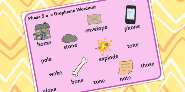 Phase 5 o_e Grapheme Word Mat - graphemes, phase five, visual aid