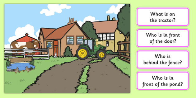 Farm Picture and Questions -Question words , Listening, Receptive language, expressive language, Language activity