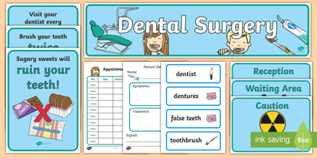 Dentists/Dental Surgery Role Play Pack - Role Play Pack - Dentists/Dental Surgery Role Play Pack, dentist, dental nurse, checkup, teeth, dental care, dental health, filling, extraction, health, role play, display, posterrole play, Display signs, disp