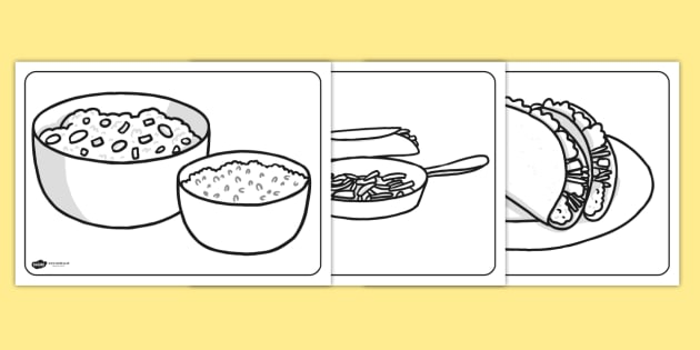 Mexican Food Colouring Pages - mexico, mexican, food, colouring