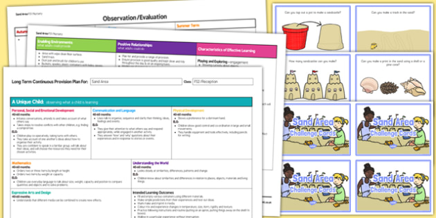 Sand Area Editable Continuous Provision Plan and Challenge Cards Pack Reception FS2