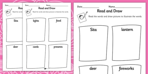 Diwali Read and Draw Worksheet - reading, drawing, hinduism, RE