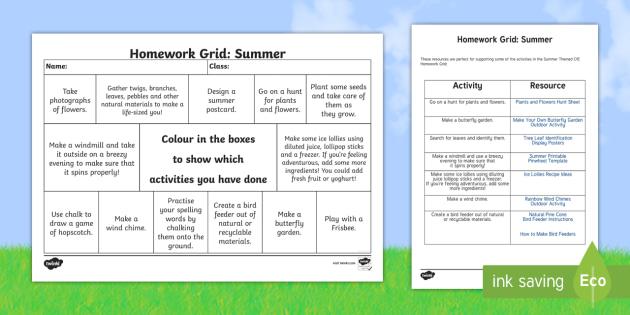 homework grid activities