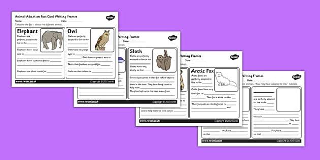 Animal Adaptation Fact Writing Sheets adaption adapting – Animal Adaptation Worksheet