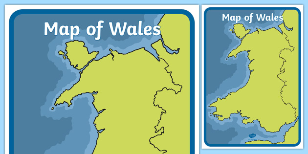 NEW * Map of Wales in Colour A2 Display Poster - mor, sea, land, tir