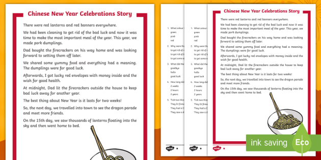 ks1 chinese new year celebrations story differentiated reading comprehension. Black Bedroom Furniture Sets. Home Design Ideas