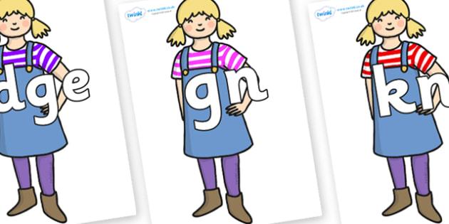 Silent Letters on Little Girl - Silent Letters, silent letter, letter blend, consonant, consonants, digraph, trigraph, A-Z letters, literacy, alphabet, letters, alternative sounds