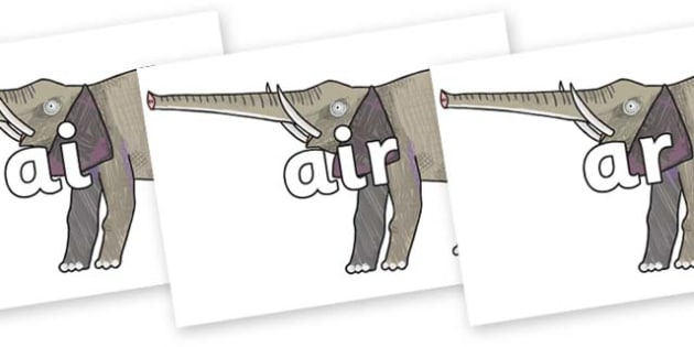 Phase 3 Phonemes on Elephant to Support Teaching on The Bad Tempered Ladybird - Phonemes, phoneme, Phase 3, Phase three, Foundation, Literacy, Letters and Sounds, DfES, display