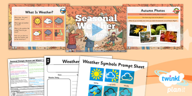 Science: Seasonal Changes (Autumn and Winter): Seasonal Weather Autumn Year 1 Lesson Pack 2