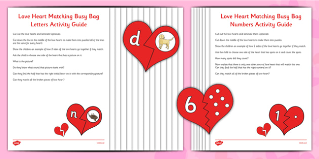 Love Heart Match Busy Bag Resource Pack for Parents - Valentines, phonics, numbers, counting