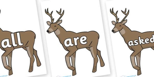 Tricky Words on Stags - Tricky words, DfES Letters and Sounds, Letters and sounds, display, words