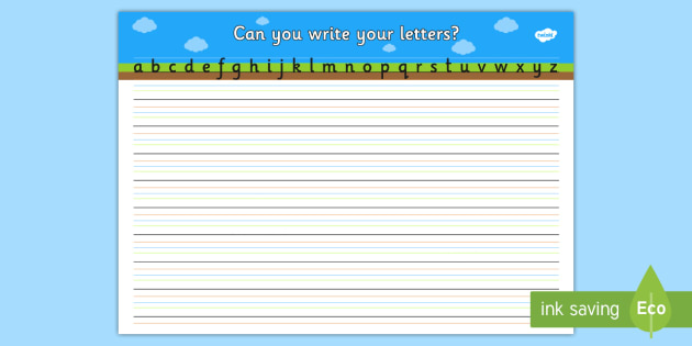 Can you Write Your Letters Worksheet (Ground, Sky, Grass) - education, home school, child development, children activities, free, kids, worksheets, how to write, literacy