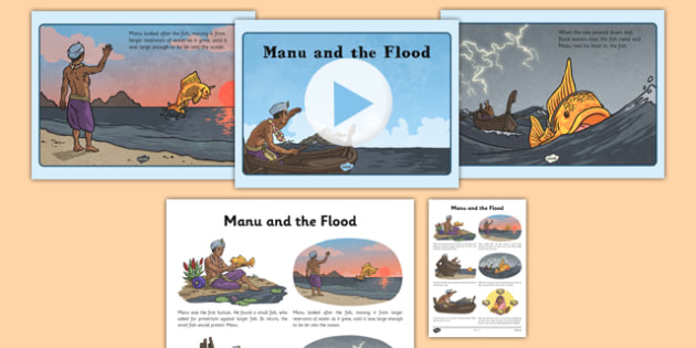 Manu and the Flood PowerPoint and Script - manu, flood, sikh, sikhism, tradition