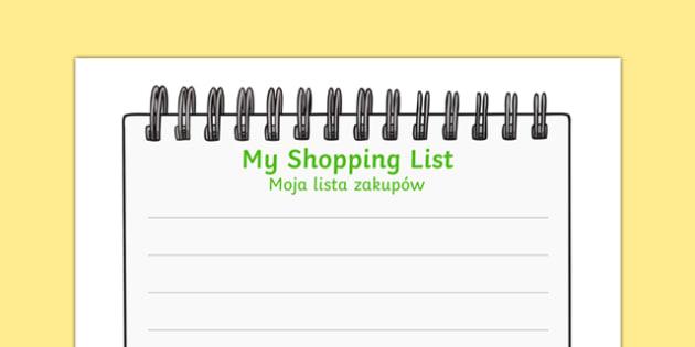 Farm Shop Shopping List Polish Translation - polish, Farm Shop Role Play, Role Play Shopping Lists - Shopping list, Shopping, Role Play, Money, Shop, Till, Purchase, topic, activity, buying, farm shop resources, farm, milk, cheese, eggs, till, animal