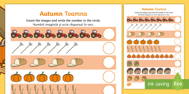 My Autumn Counting Activity Sheet English/Romanian - worksheet, My Counting Worksheet (Autumn) - autumn, counting, activity, how many, foundation numerac