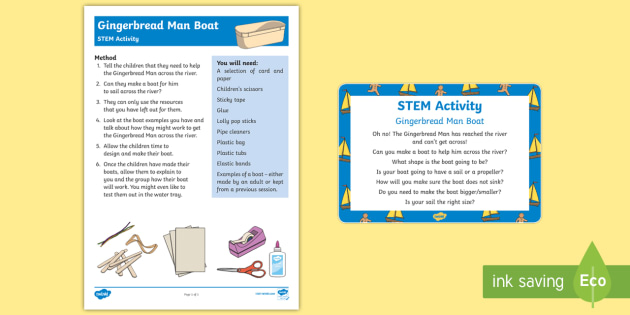 The Gingerbread Man Boat STEM Activity and Prompt Card Pack - The Gingerbread Man, Traditional Tales, ginger, construction, engineering, stem, floating, sinking