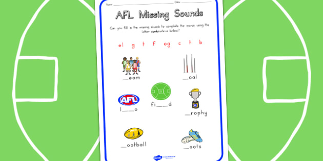 AFL Australian Football League Missing Sounds Worksheet - sport