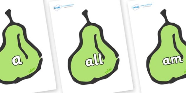 Foundation Stage 2 Keywords on Pears - FS2, CLL, keywords, Communication language and literacy,  Display, Key words, high frequency words, foundation stage literacy, DfES Letters and Sounds, Letters and Sounds, spelling