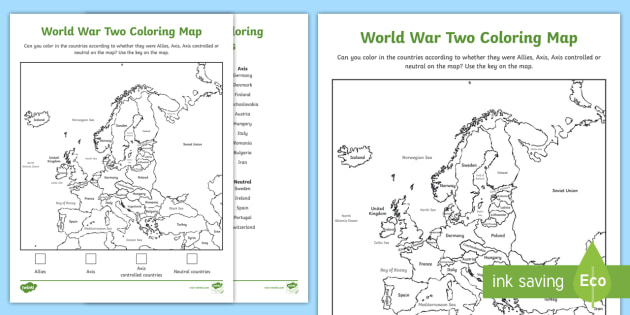 World War Two Coloring Map Worksheet - History, Social ...