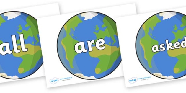 Tricky Words on Planet Earth - Tricky words, DfES Letters and Sounds, Letters and sounds, display, words