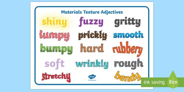 Materials Texture Adjectives Word Mat - materials, texture, adjectives, word mat, word, mat