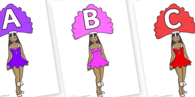A-Z Alphabet on Dancer - A-Z, A4, display, Alphabet frieze, Display letters, Letter posters, A-Z letters, Alphabet flashcards