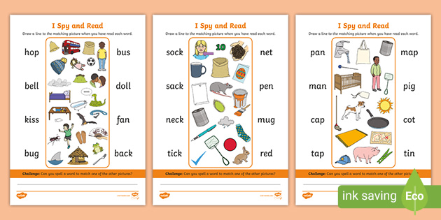 I Spy And Read Phase 2 Phonics Picture Reading Worksheets
