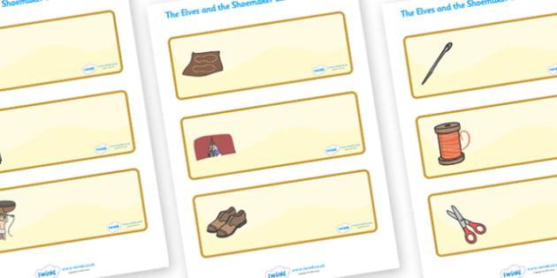 The Elves and the Shoemaker Drawer Peg Name Labels - Traditional tale, tales, elves, elf, shoemaker, Resource Labels, Name Labels, Editable Labels, Drawer Labels, Coat Peg Labels, Peg Label, KS1 Labels, Foundation Labels, Foundation Stage Labels, Tea