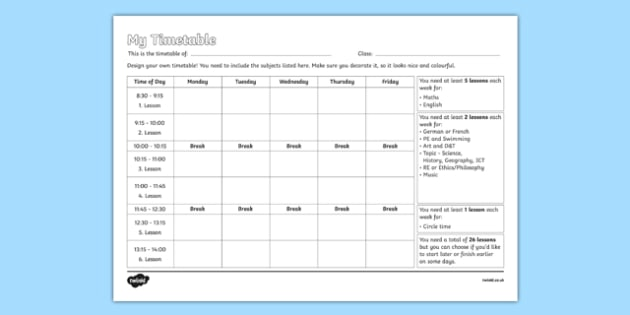 Design Your Own School Timetable Activity Sheet design school – School Time Table Designs