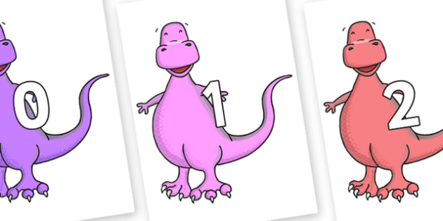 Numbers 0-100 on Tyrannosaurus - 0-100, foundation stage numeracy, Number recognition, Number flashcards, counting, number frieze, Display numbers, number posters