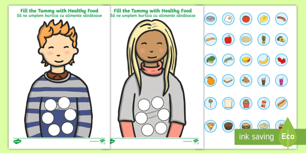 Healthy Food Fill The Tummy Activity Romanian/English - healthy, health, body, eal, fruit, vegetables
