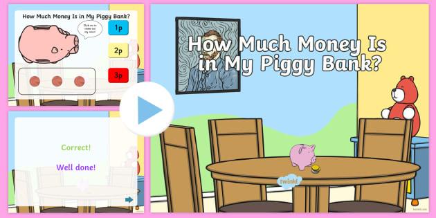 How Much Money is in My Piggy Bank? British Money PowerPoint Quiz- money, count