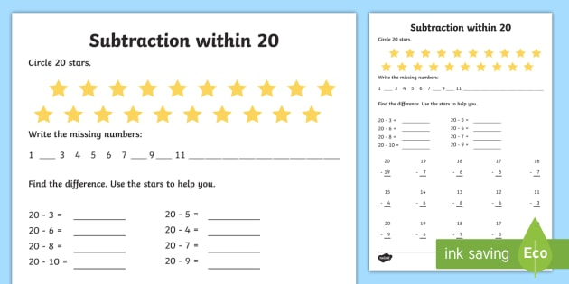 100 Horizontal Addition/Subtraction Questions (Facts 1 to 20) (A)