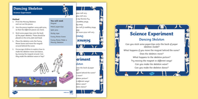 EYFS Dancing Skeleton Science Experiment and Prompt Card Pack