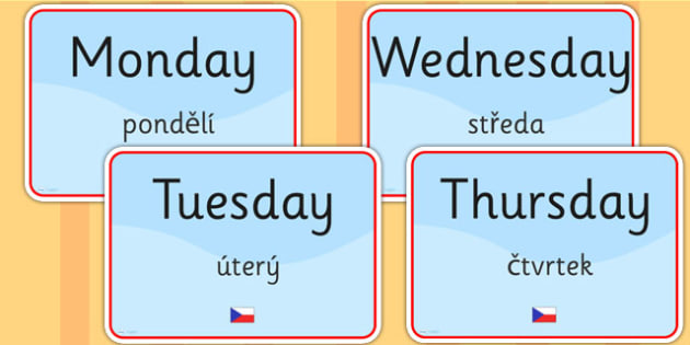 Days of the Week Signs EAL Czech Version - language, display
