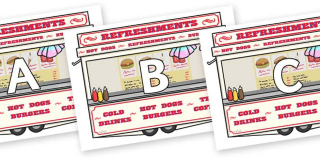 A-Z Alphabet on Fairground Food Vans - A-Z, A4, display, Alphabet frieze, Display letters, Letter posters, A-Z letters, Alphabet flashcards