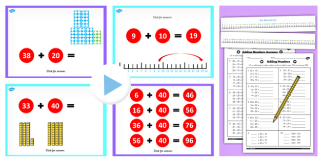 Year 2 Adding 2 Digit Numbers and Tens Not Crossing 100 With Same 10s Lesson Teaching Pack - no remainder, no remaining